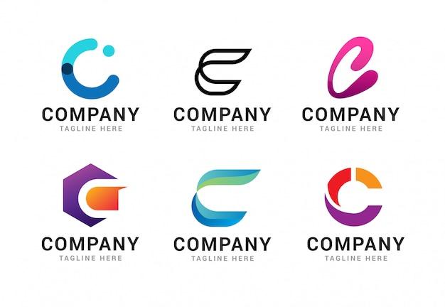 Satz logo-ikonen-schablonenelemente des buchstaben c