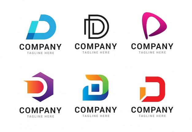 Satz logo-ikonen-schablonenelemente des buchstaben d