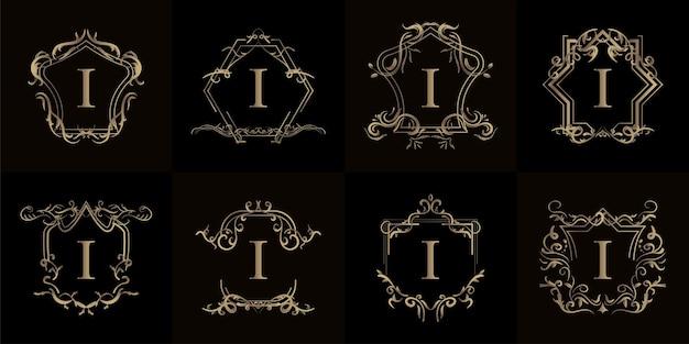 Satz logo-initiale i mit luxuriösem ornament oder blumenrahmen