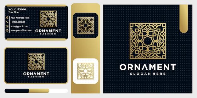Satz logo-ornament-design-vorlagen im trendigen linearen stil mit blumen