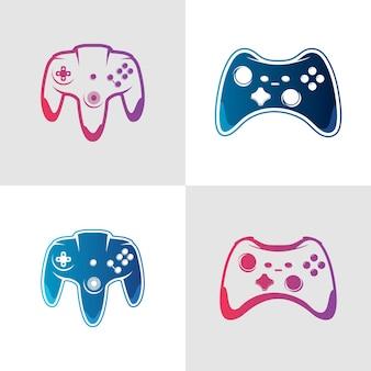 Satz logo-vektorspiel-joystick-illustration-logo-design