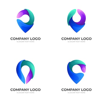Satz logoposition mit bunten symbolen