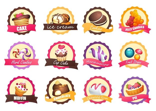 Satz logos mit verschiedenen süßigkeiten, vektorillustration