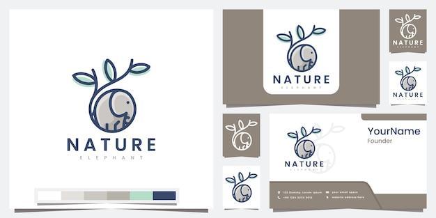Satz logos naturelefant mit strichgrafikkonzeptlogodesign