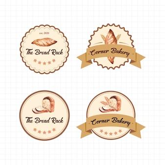 Satz logos von bäckereien Kostenlosen Vektoren