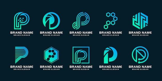 Satz logoschablone des buchstaben p mit kreativem konzept premium-vektor