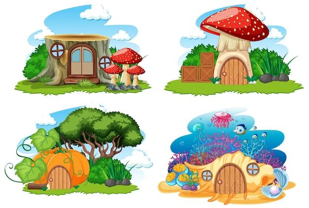 Satz lokalisierte gnom-märchenhaus-karikaturart auf weißem hintergrund