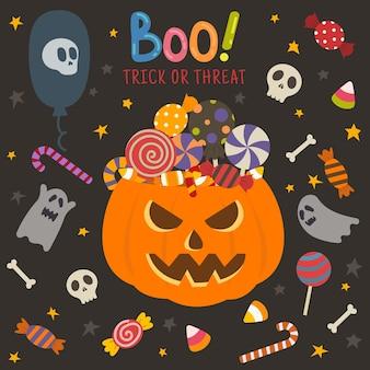 Satz lokalisierte halloween-ikone mit süßigkeitskürbis und -geist