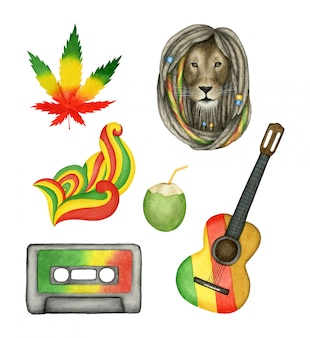 Satz lokalisierte reggae-musikelemente. handgemalte aquarell-sammlung