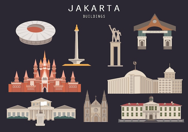 Satz lokalisierter gebäude-markstein jakartas indonesien