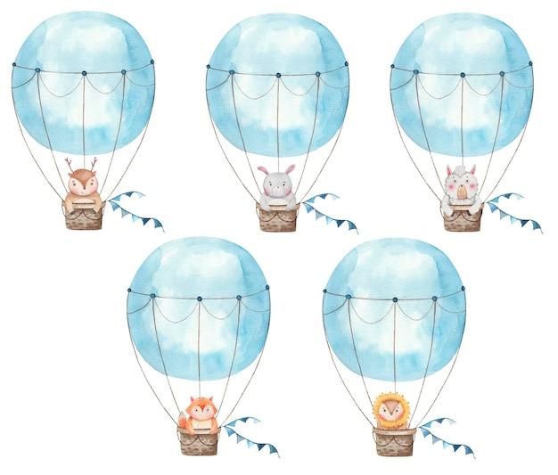 Satz luftballons mit niedlichen tieren