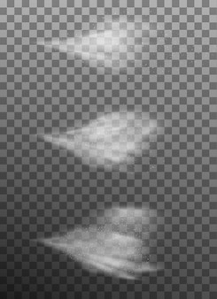 Satz luftiger wassersprühnebel. sprühnebel auf dunklem transparentem hintergrund. luftiges spray und wasserdunstiger nebel. und beinhaltet auch