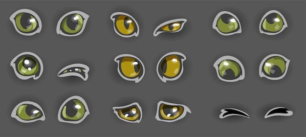 Satz lustige gelbe und grüne katzenaugen der karikatur