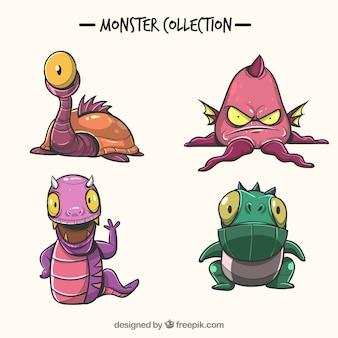Satz lustige gezeichnete art der monster in der hand