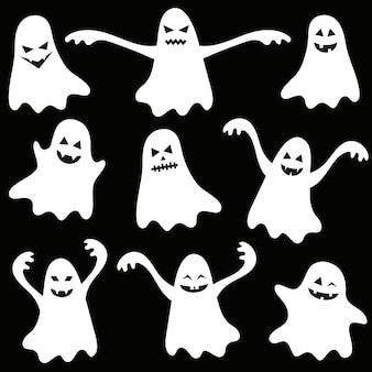 Satz lustige halloween-geister auf schwarzem hintergrund