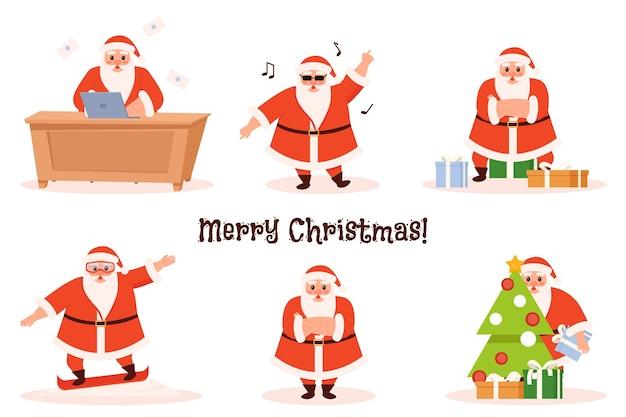Satz lustige karikatur-weihnachtsmänner