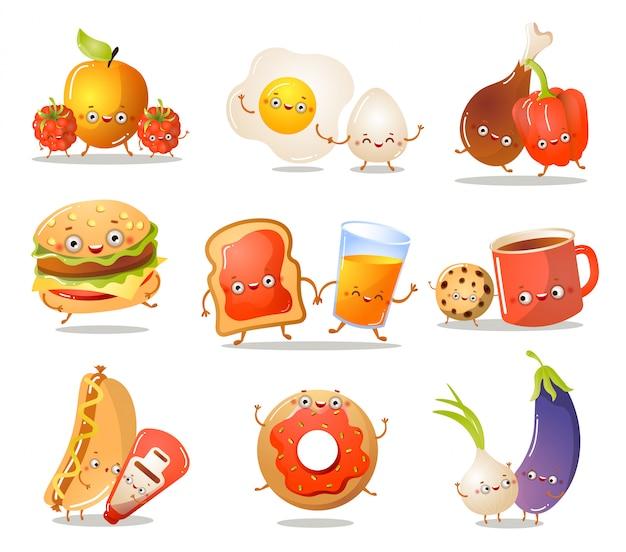 Satz lustige küchenlebensmittelcharaktere in verschiedenen aktionen