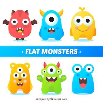 Satz lustige monster in der flachen art