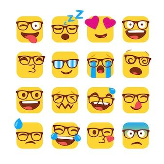 Satz lustige nerd emojis mit gläsern