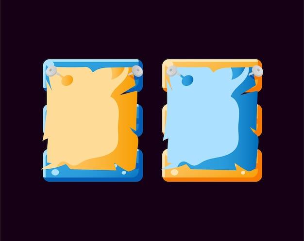 Satz lustige papierspiel-ui-brett-popup-vorlage für gui-asset-elemente