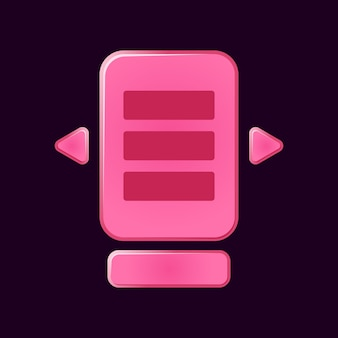 Satz lustige rosa spiel-ui-brett pop-up für gui-asset-elemente