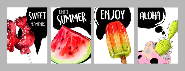 Satz lustige sommerkarten