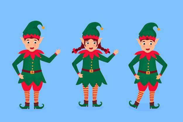Satz lustige weihnachtselfenillustration. zeichentrickfigur.