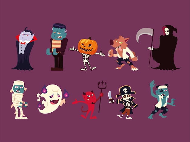 Satz lustiger charaktere für halloween