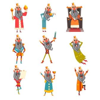 Satz lustiger könig in verschiedenen kleidern. zeichentrickfigur des alten bärtigen mannes, der goldene krone trägt. herrscher des königreichs. für postkarte oder kinderbuch