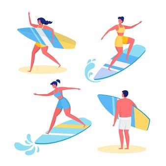 Satz lustiger surfer im badeanzug, der im meer, ozean surft. glückliche leute in strandkleidung mit surfbrett lokalisiert auf weißem hintergrund. cartoon design