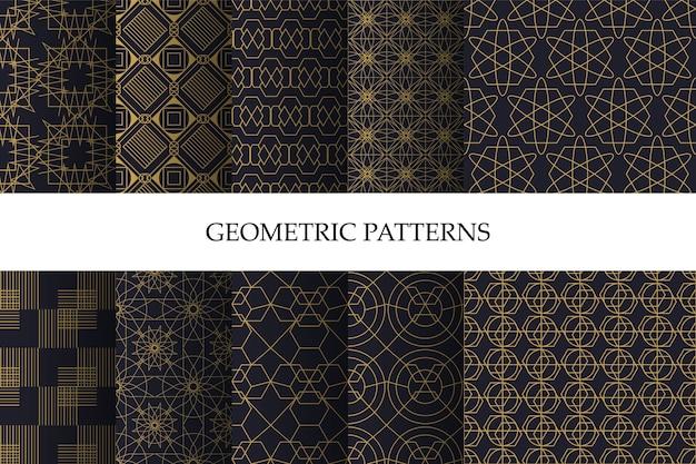 Satz luxuriöses dunkles geometrisches muster und dekorative tapete