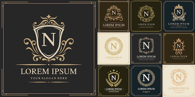 Satz luxus-logo-vorlage, anfangsbuchstabe typ n.