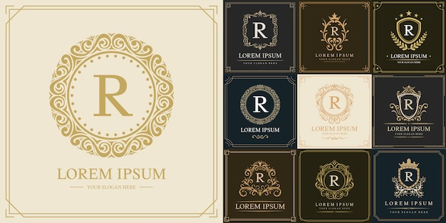 Satz luxus-logo-vorlage, anfangsbuchstabe typ r.