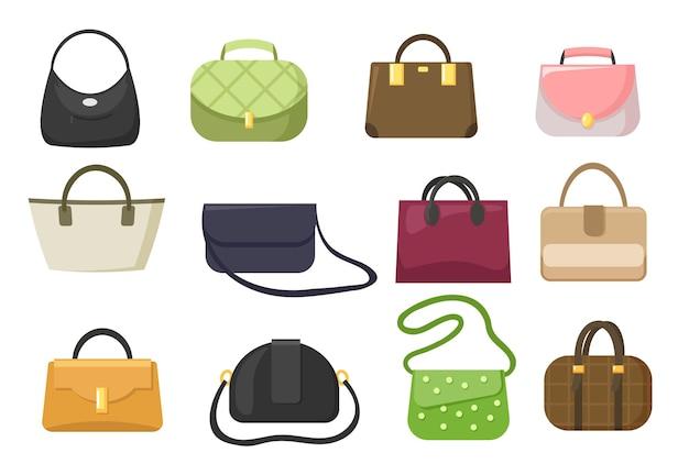 Satz luxushandtaschen und geldbörsenillustration der frau