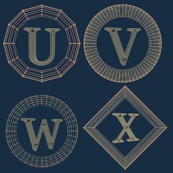 Satz luxusmonogramm. buchstaben in einem rahmen von linien, die mit punkten verbunden sind. vektorillustration env 10.