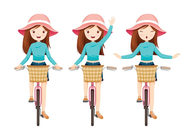 Satz mädchen, das fahrrad mit vorderem korb reitet
