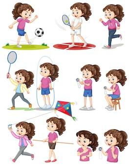 Satz mädchen, das verschiedene arten von sportarten ausführt