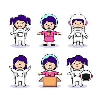 Satz mädchen im astronautenmaskottchen-logoentwurf