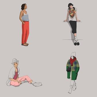 Satz mädchen in farbiger kleidung 1