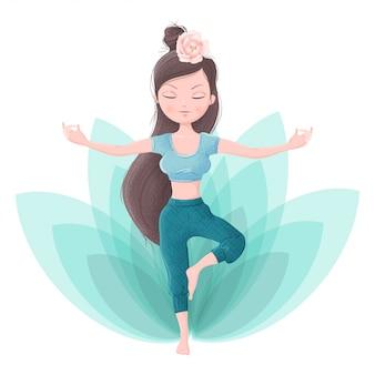 Satz mädchen in yoga-asanas und zubehör für ayurveda- und pfingstrosenblumen