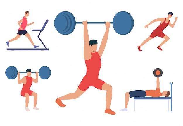 Satz männer, die körper ausbilden. männliche anhebende gewichte