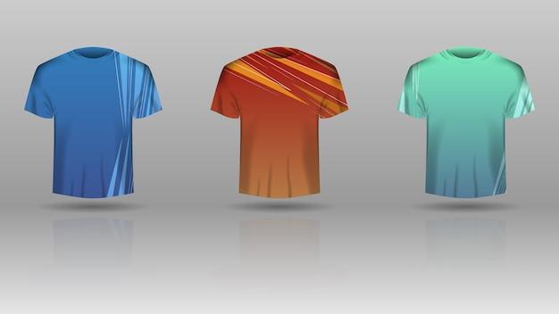 Satz männer-t-shirt mit kolorierter schablone