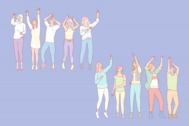 Satz männer und frauen tanzen