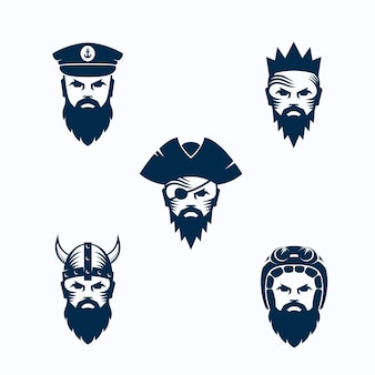 Satz männergesichts-silhouetten. bärtige gesichter von kriegern, kapitän, piraten, könig und biker. logo