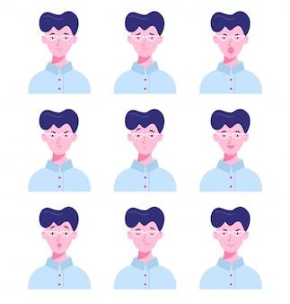 Satz männliche avatare mit verschiedenen emotionen.