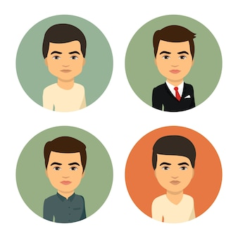 Satz männliche gerundete avatare der karikatur, bild