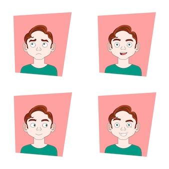 Satz männliche gesichtsausdrücke sammlung von guy different emotions