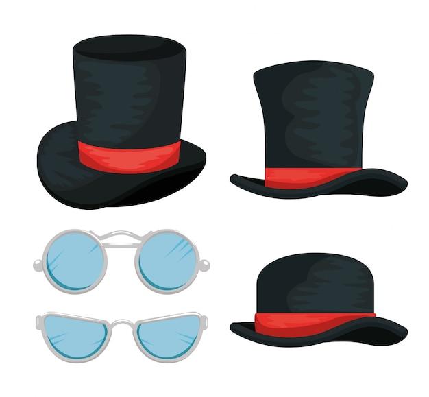Satz männliche hüte und gläser