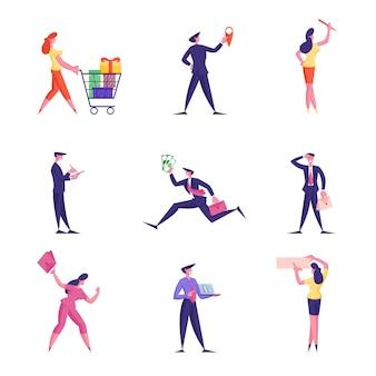 Satz männliche und weibliche geschäftsleute festliche jahreszeit einkaufen