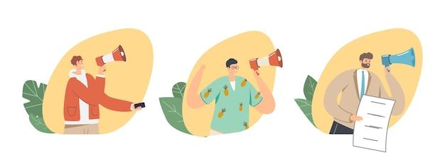 Satz männlicher charaktere mit lautsprecher. mann schreit zu megaphone alert-werbekampagne, öffentlichkeitsarbeit oder angelegenheiten, rede, pr-werbung, stellenangebotskonzept. cartoon-menschen-vektor-illustration